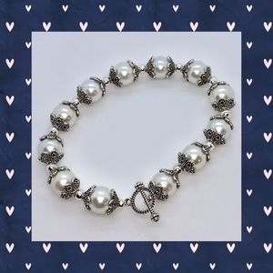 White Pearl and Antique Silver Bead Cap Bracelet